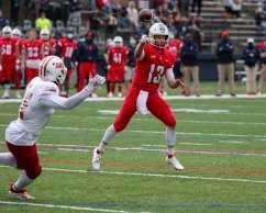 Joe Mischler (13) Duquesne Football April 11, 2021 Photo by David Hague/PSN