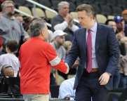Coach Keith Dambrot and Chris Mooney March 6, 2020 - David Hague/PSN