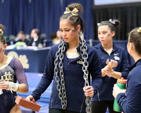Rebekah Jenkins with the chain and brick Pitt Gymnastics January 12, 2019 -- David Hague/PSN