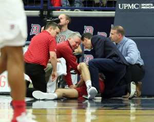 Gruesome injury to Saint Joseph's Pierfrancesco Oliva (24) January 12, 2019 -- David Hague/PSN