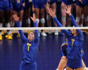 Layne Van Buskirk (7) and Lexis Akeo (1) for Pitt Volleyball September 22, 2019 -- David Hague/PSN