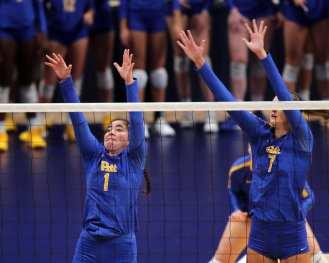 Layne Van Buskirk (7) and Lexis Akeo (1) for Pitt Volleyball September 22, 2019 -- David Hague/PSN