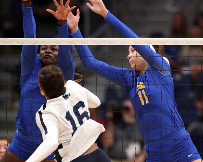 Chinaza Ndee (5) and Sabrina Starks (11) for Pitt Volleyball September 22, 2019 -- David Hague/PSN