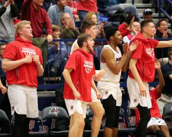 Duquesne Bench celebrates January 12, 2019 -- David Hague/PSN