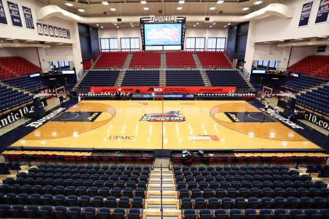 AJ Palumbo Center ready for the A10 Women's Basketball Championships March 5, 2019 -- David Hague/ PSN