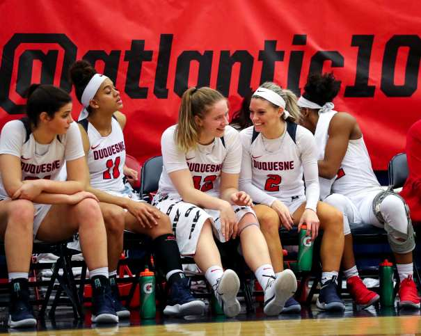 Duquesne Bench all smiles March 5, 2019 -- David Hague/ PSN