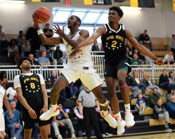 Casey Oliver (2) and MJ Devonshire (2) in the PBC Roundball Classic April 28, 2019 -- David Hague/PSN