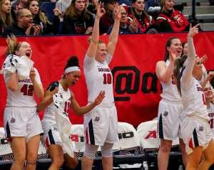 Duquesne Bench celebrates March 8, 2019 -- David Hague/ PSN