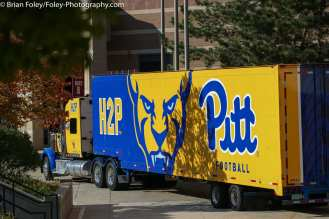 Oct. 10, 2020; Chestnut Hill, Massachusetts, USA; The Pittsburgh Panthers trailer truck outside of Alumni Stadium before an ACC matchup between Pittsburgh and Boston College. The Eagles won the game 31-30 in overtime over the Panthers. Credit © Brian Foley for Foley-Photography.