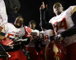 Penn Hills players react after winning November 23, 2018 — BEN BAMFORD