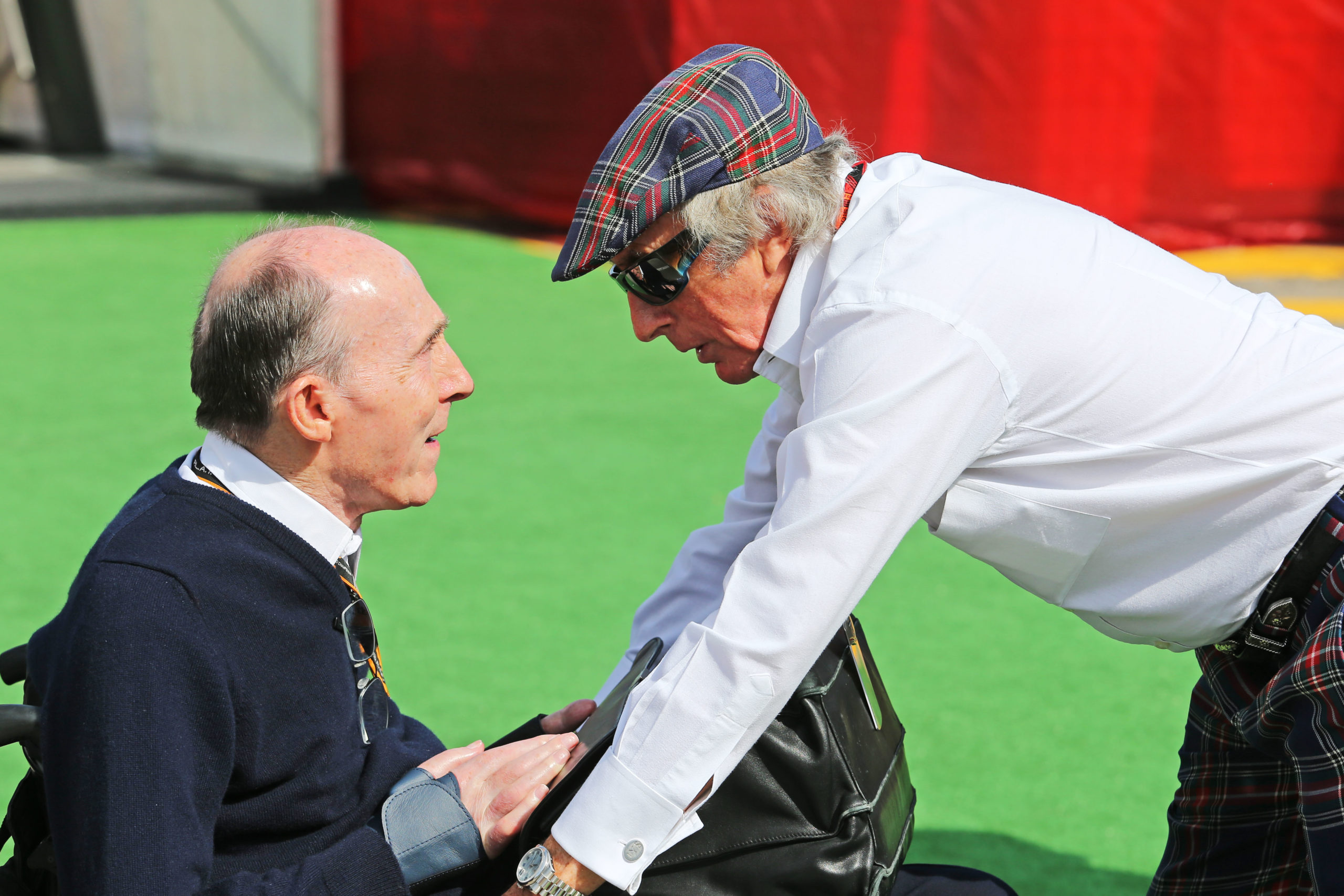 (L to R): Frank Williams (GBR) Williams Team Owner with Jackie Stewart (GBR). 10.05.2015. Formula 1 World Championship, Rd 5, Spanish Grand Prix, Barcelona, Spain, Race Day. © XPB Images / Williams Racing