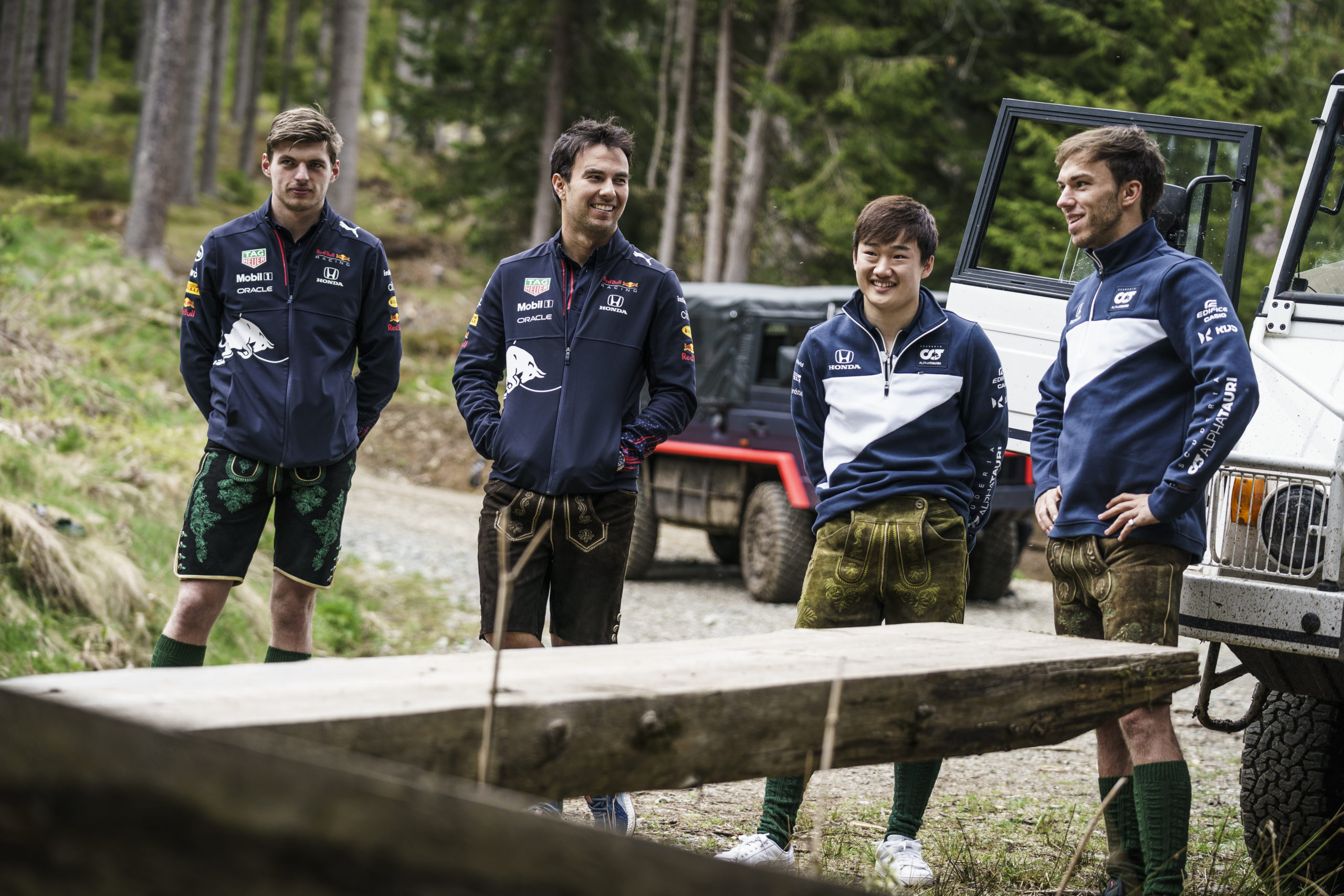 Max Verstappen, Sergio Perez, Yuki Tsunoda and Pierre Gasly  seen during the Red Bull Schnitzeljagd at the Grundlsee, Austria on May 16, 2021 // SI202106210027 // Usage for editorial use only //