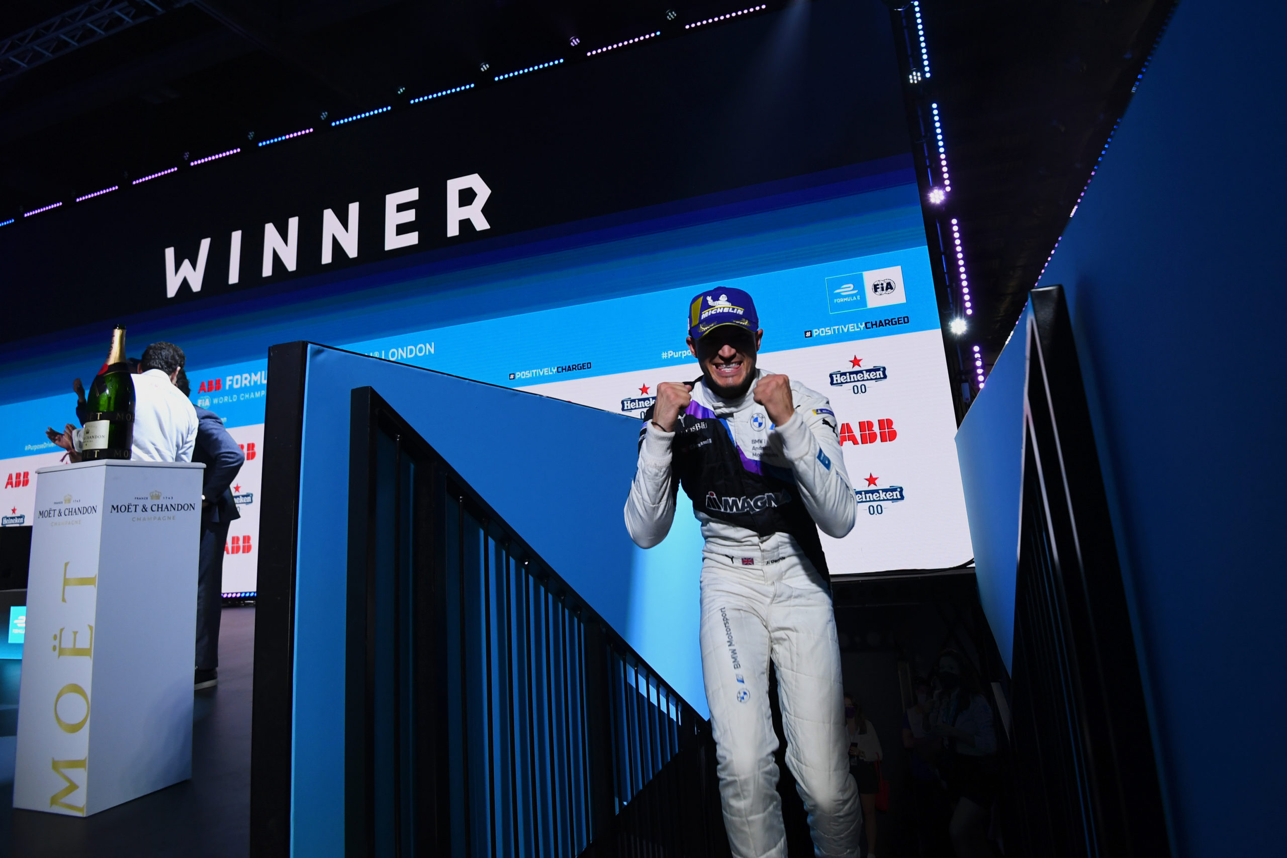 Jake Dennis (GBR), BMW I Andretti Motorsport, 1st position, celebrates on the podium