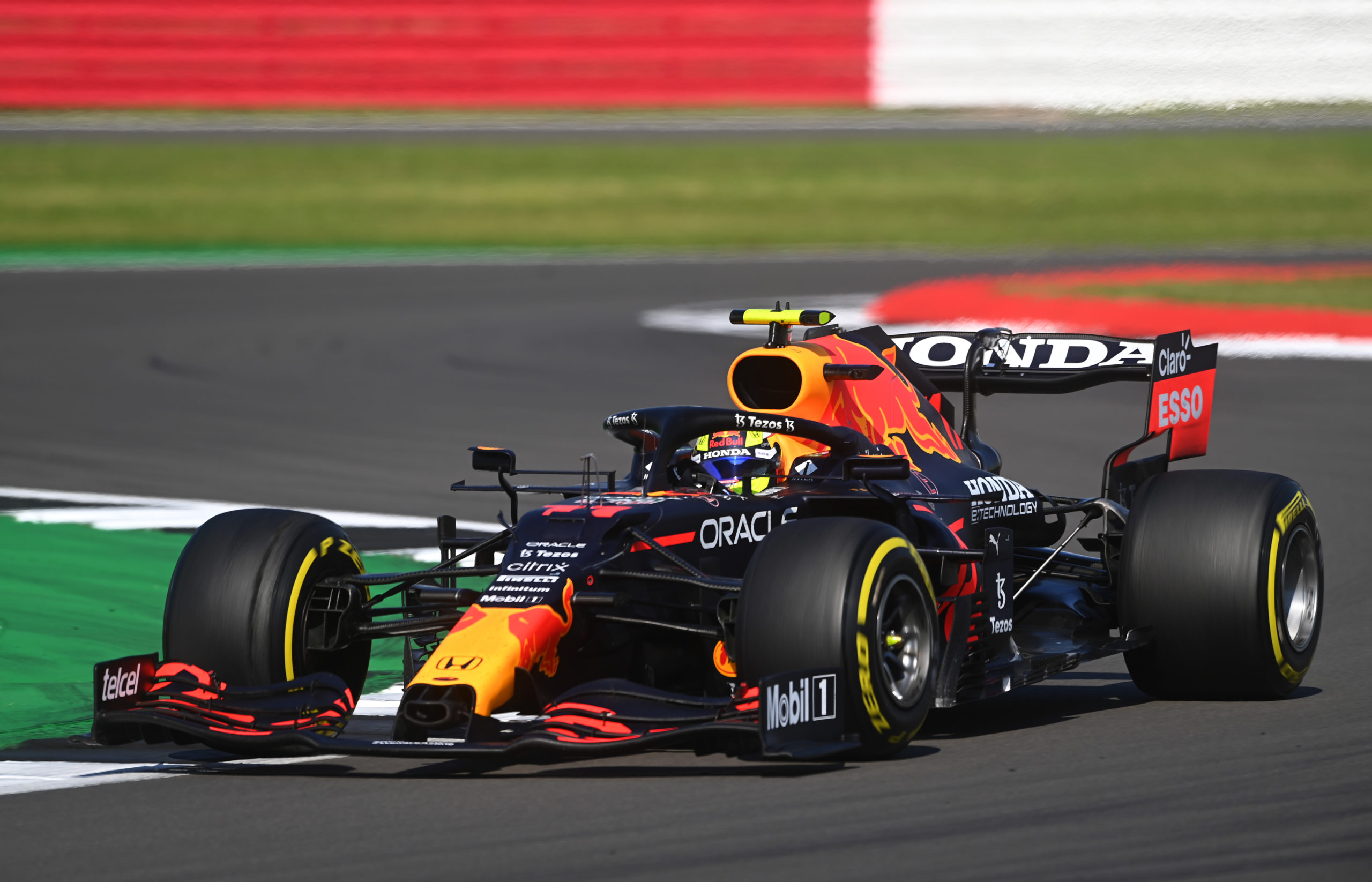 NORTHAMPTON, ENGLAND - JULY 18: Sergio Perez of Mexico driving the (11) Red Bull Racing RB16B Honda during the F1 Grand Prix of Great Britain at Silverstone on July 18, 2021 in Northampton, England. (Photo by Michael Regan/Getty Images) // Getty Images / Red Bull Content Pool  // SI202107180158 // Usage for editorial use only //