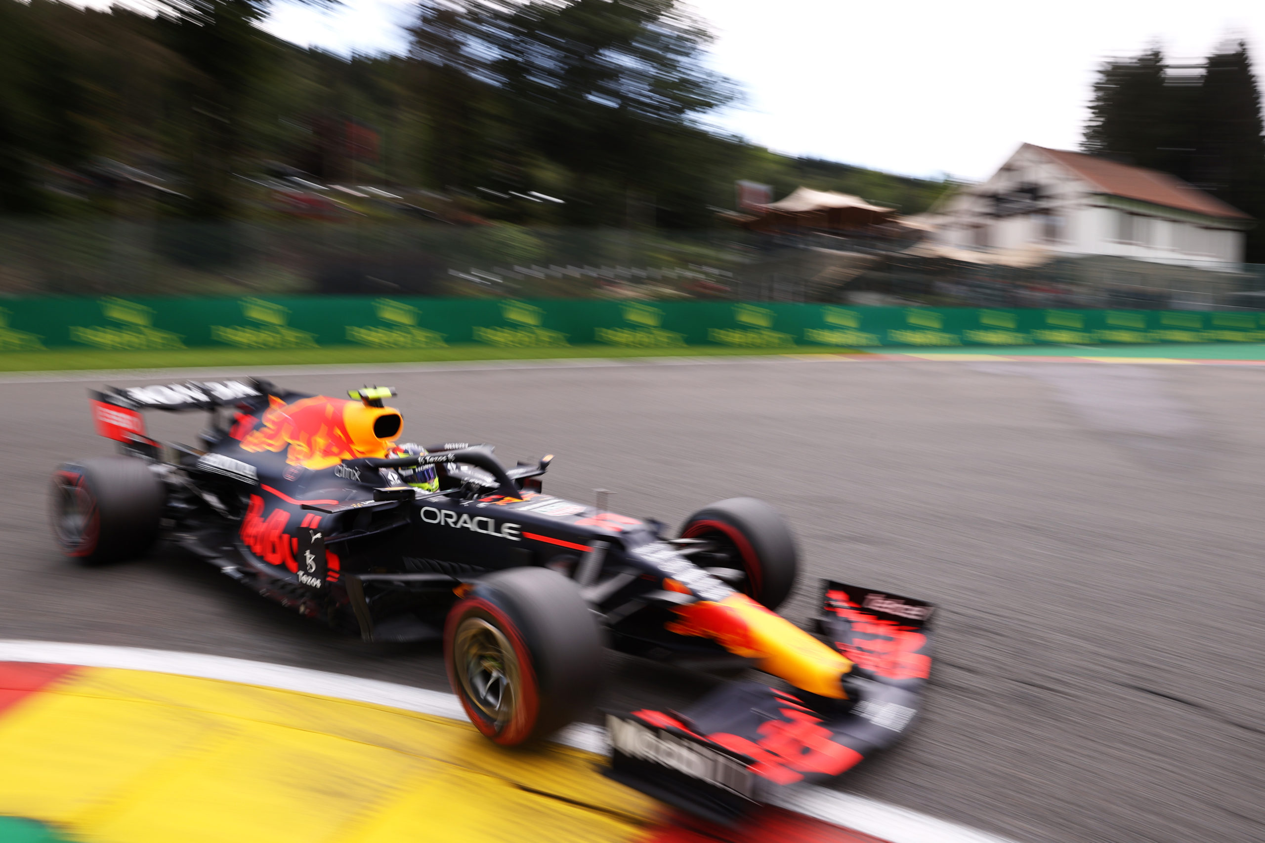 SPA, BELGIUM - AUGUST 27: Sergio Perez of Mexico driving the (11) Red Bull Racing RB16B Honda during practice ahead of the F1 Grand Prix of Belgium at Circuit de Spa-Francorchamps on August 27, 2021 in Spa, Belgium. (Photo by Lars Baron/Getty Images) // Getty Images / Red Bull Content Pool  // SI202108270214 // Usage for editorial use only //