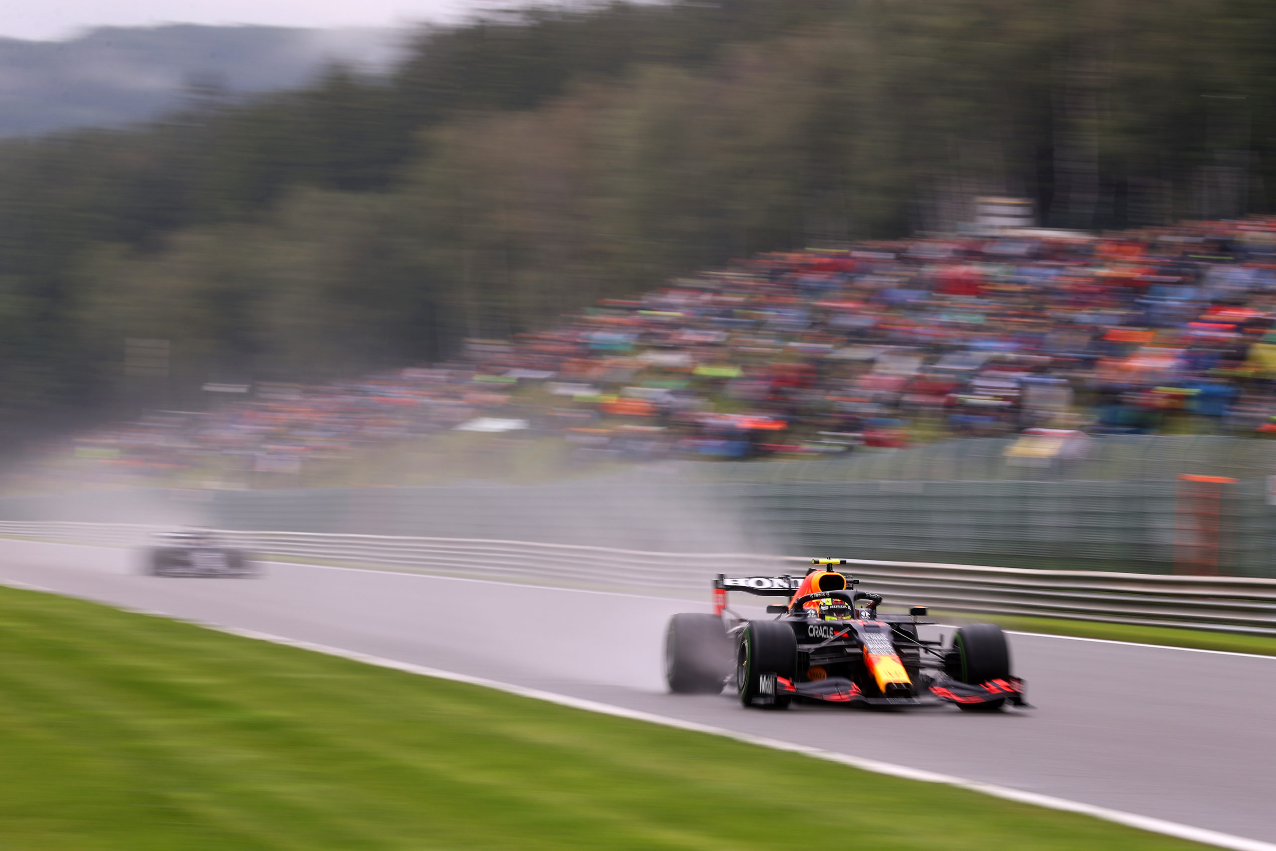 SPA, BELGIUM - AUGUST 28: Sergio Perez of Mexico driving the (11) Red Bull Racing RB16B Honda during final practice ahead of the F1 Grand Prix of Belgium at Circuit de Spa-Francorchamps on August 28, 2021 in Spa, Belgium. (Photo by Lars Baron/Getty Images) // Getty Images / Red Bull Content Pool  // SI202108280120 // Usage for editorial use only //