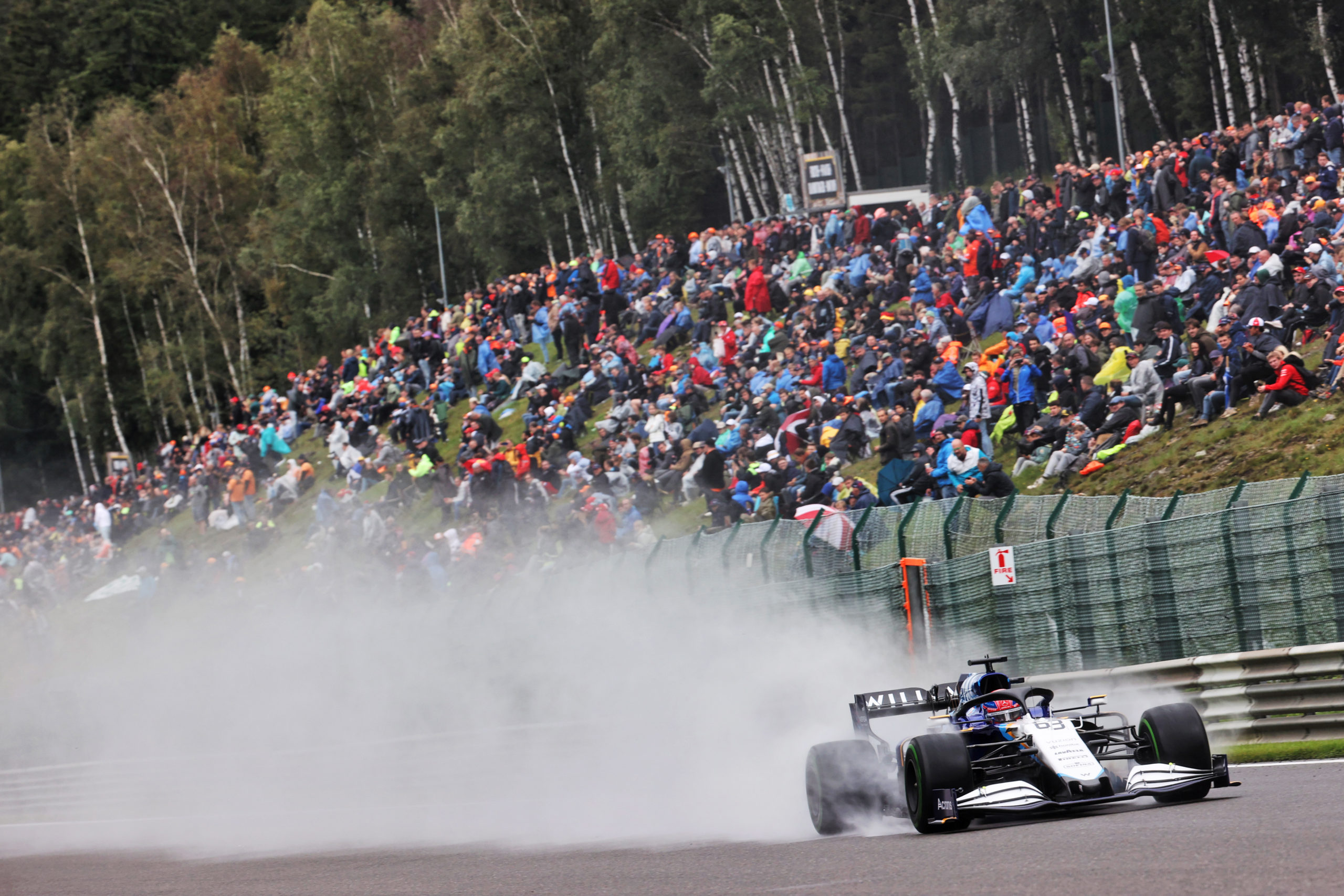 George Russell (GBR) Williams Racing FW43B. Belgian Grand Prix, Saturday 28th August 2021. Spa-Francorchamps, Belgium.