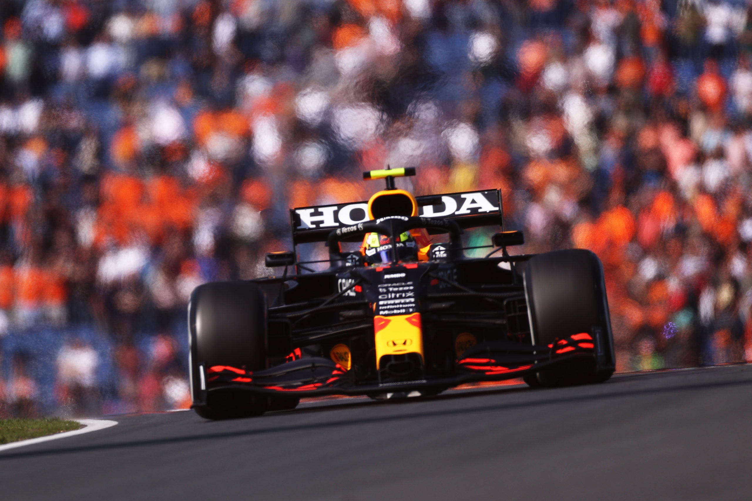 ZANDVOORT, NETHERLANDS - SEPTEMBER 03: Sergio Perez of Mexico driving the (11) Red Bull Racing RB16B Honda during practice ahead of the F1 Grand Prix of The Netherlands at Circuit Zandvoort on September 03, 2021 in Zandvoort, Netherlands. (Photo by Lars Baron/Getty Images) // Getty Images / Red Bull Content Pool  // SI202109030135 // Usage for editorial use only //