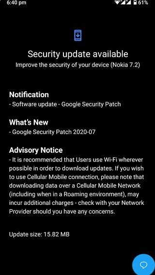 Nokia 7.1 July OTA