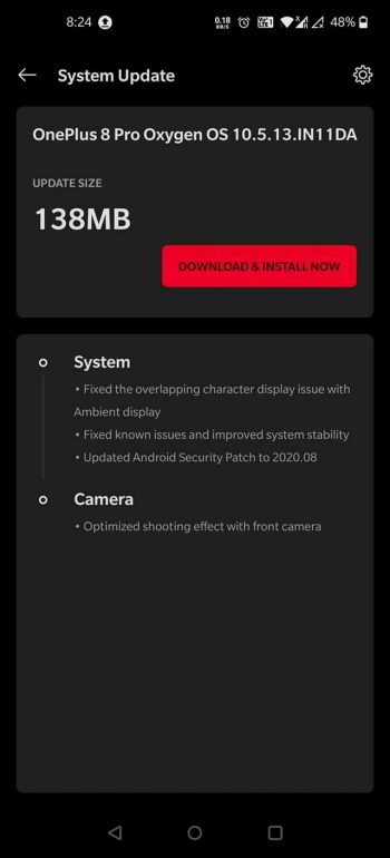 oneplus 8 august patch