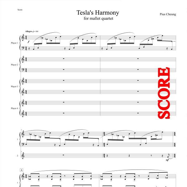Tesla's Harmony (for mallet quartet) - SCORE
