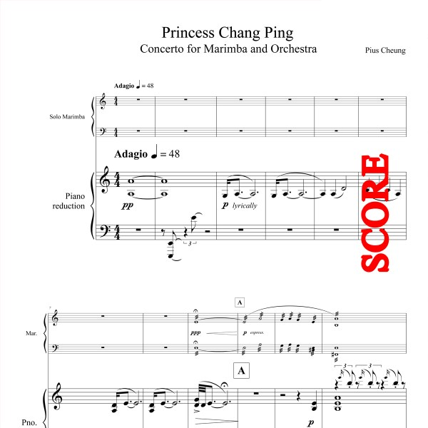Princess Chang Ping, Concerto for Marimba and Orchestra - Piano Reduction - Score