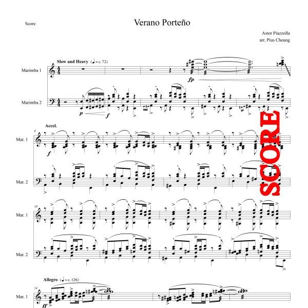 Verano Porteno (arr. for marimba duo) Score
