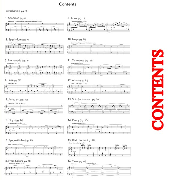 Colors (16 pieces for solo marimba) - Contents