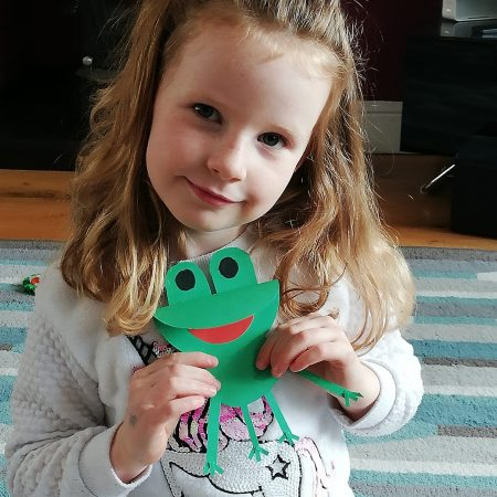 """Amelie JI Ms. McGuinness """"Amelie made a frog to go with the lilly pads from Mondays class"""""""