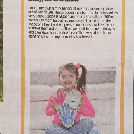 """Arianne Sr Inf Ms. Durkan """"I made a handprint keepsake out of salt dough. It was lots of fun to make and here I am in the kids magazine in the Business Post explaining how to make it"""""""