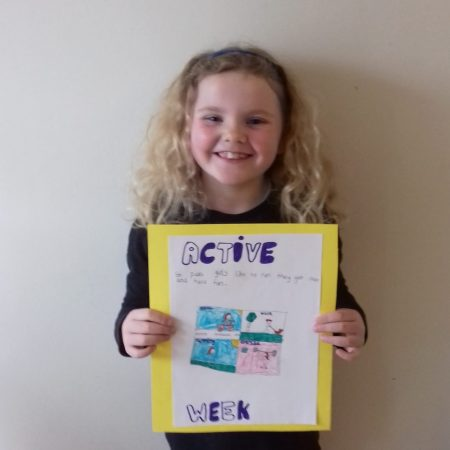 """Emma 1st Ms Ward """"Look at my active school poster..St. Pius Girls love to run, they get out & have some fun"""""""