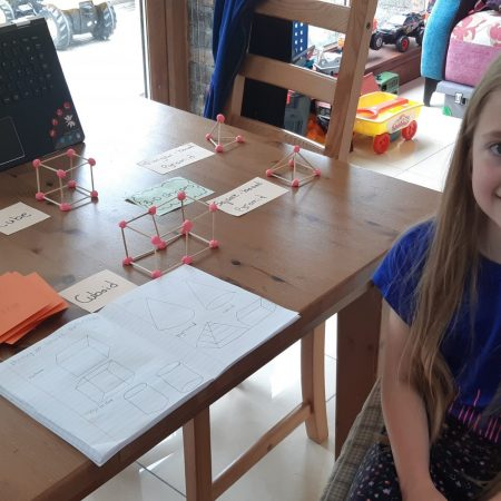 """Hannah 2nd Ms Hughes """"Hannah is making 3D shapes from PlayDoh and cocktail sticks"""""""