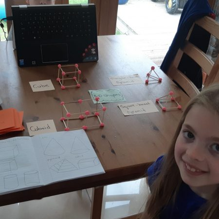 """Hannah 2nd Ms Hughes """"Making 3D models for Maths with Play Doh and cocktail sticks! Great fun with this activity"""""""
