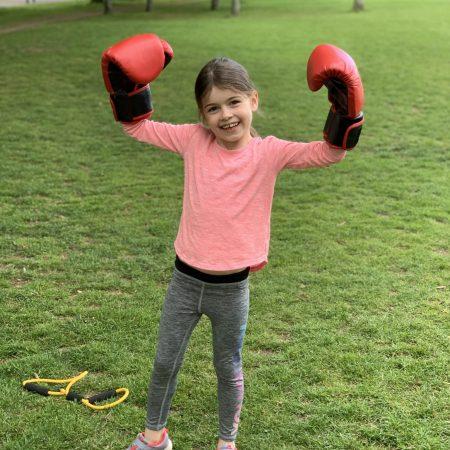 "Sophie Sr Inf Ms Godson ""Sophie boxing in Bushy park"""