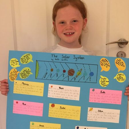 """Aoife 2nd Mr Neary """"Completed a Solar System project for Mr Neary and worked really hard at it!"""""""