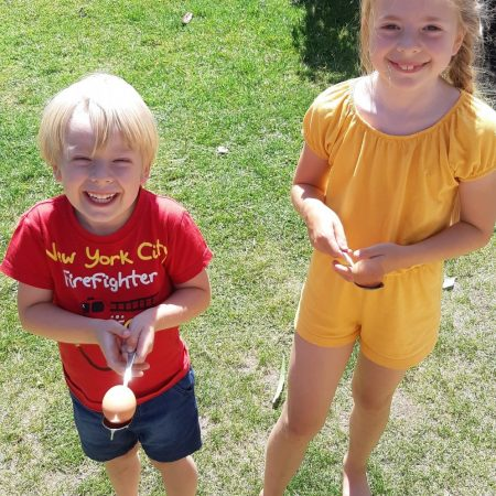 """Hannah 2nd Ms Hughes """"Hannah Young practicing her Egg and Spoon race with a little competition from her little brother Aaron"""""""