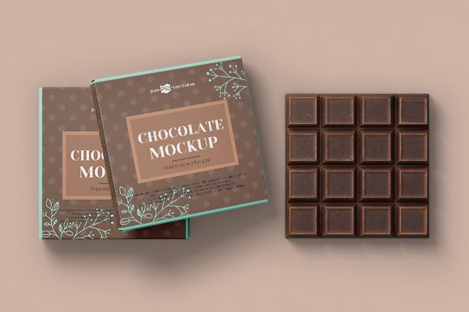 Download Free Chocolate Bar Label Mockup with Box - Free Download