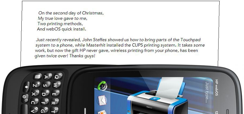 Print wirelessly from your webOS phone.