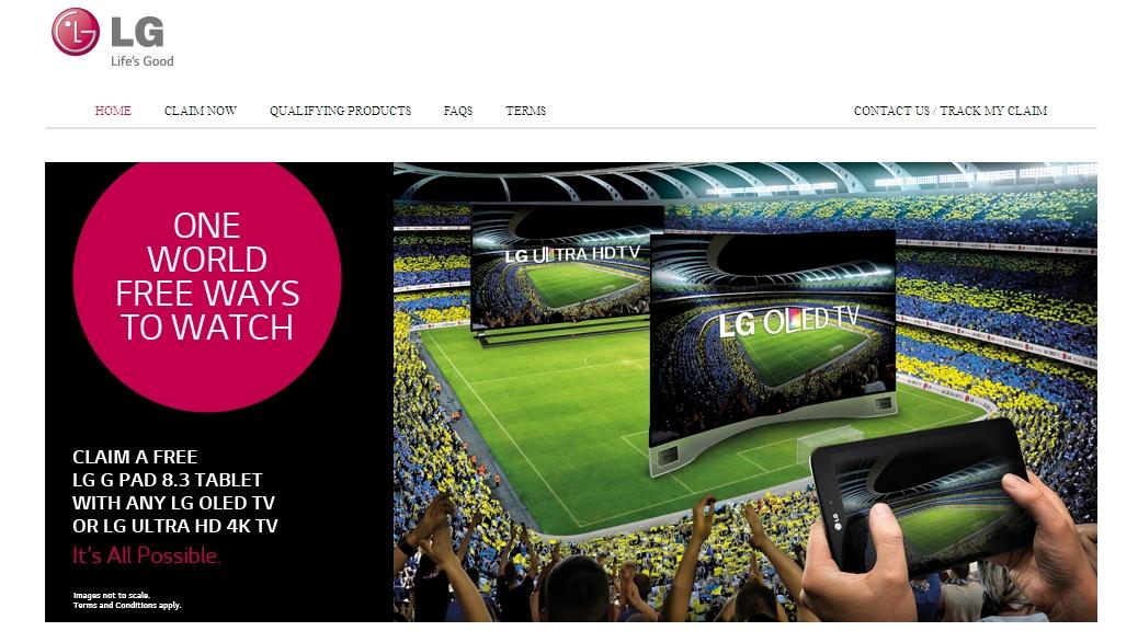The LG promo website