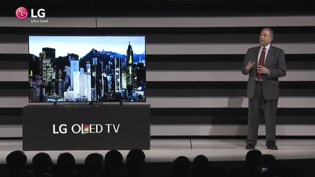 Mr Tim Alessi presenting the new range of webOS TVs for 2015
