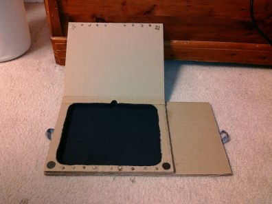 The revised magnets in the top layer. Finished the tablet felt.
