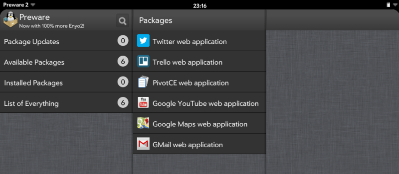Not all hands can count how many apps Preware on LuneOS has. But some can.