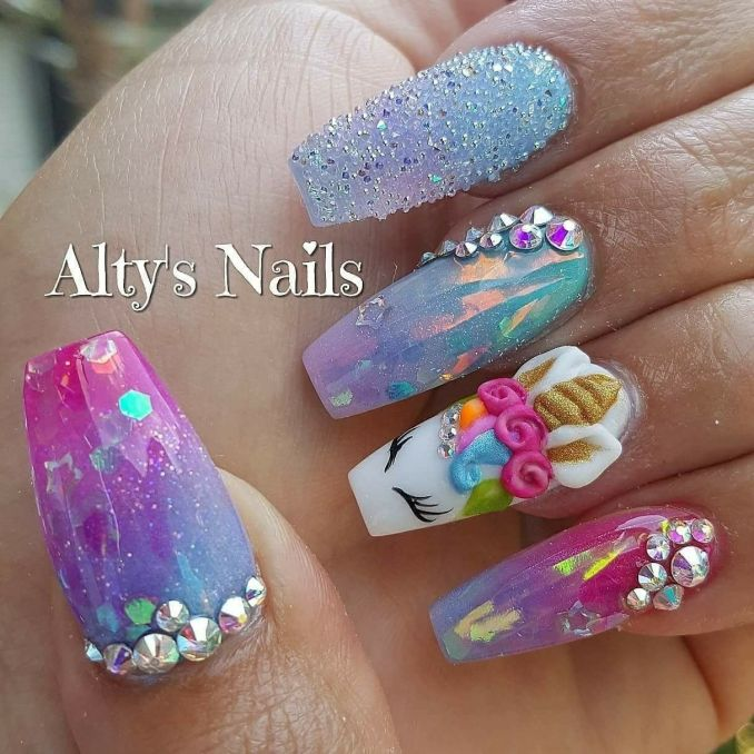 Bright nail art with a unicorn: stylish ideas for manicure in the photo and how to do it 2