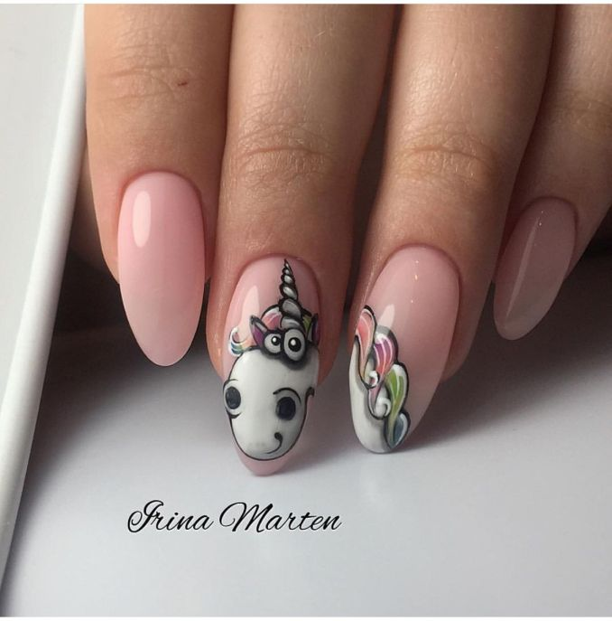 Bright nail art with a unicorn: stylish ideas for manicure in the photo and how to do it 3