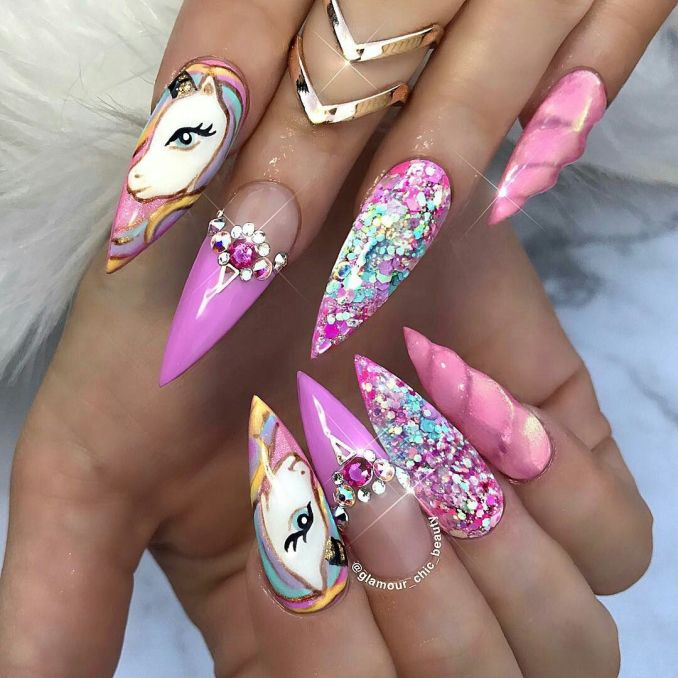 Bright nail art with a unicorn: stylish ideas for manicure in the photo and how to do it 31