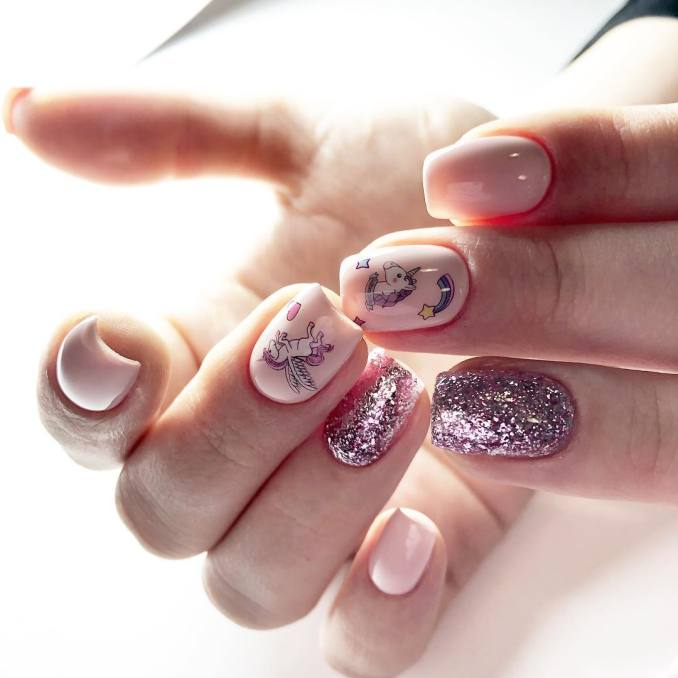 Bright nail art with a unicorn: stylish ideas for manicure in the photo and how to do it 44