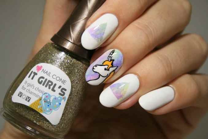 Bright nail art with a unicorn: stylish ideas for manicure in the photo and how to do it 63
