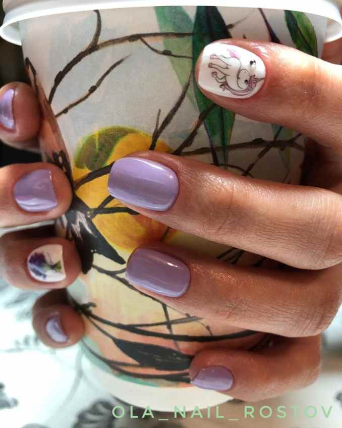 Bright nail art with a unicorn: stylish ideas for manicure in the photo and how to do it 86