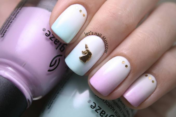 Bright nail art with a unicorn: stylish ideas for manicure in the photo and how to do it 6