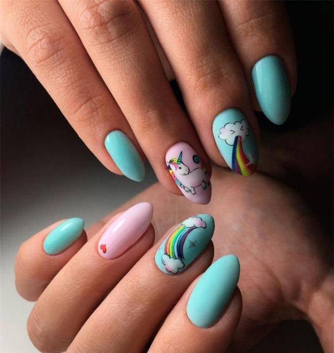 Bright nail art with a unicorn: stylish ideas for manicure in the photo and how to do it 96